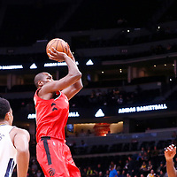 01 November 2017: Toronto Raptors forward Serge Ibaka (9) takes a jump shot during the Denver Nuggets 129-111 victory over the Toronto Raptors, at the Pepsi Center, Denver, Colorado, USA.