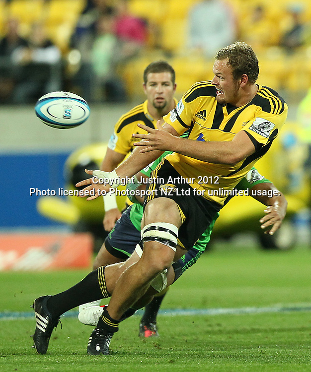 Hurricanes' Jason Eaton in action during the 2012 Super Rugby season, Hurricanes v Highlanders at Westpac Stadium, Wellington, New Zealand on Saturday 17 March 2012. Photo: Justin Arthur / Photosport.co.nz