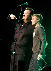 Bryan Adams with Singer Song Writer and Good Friend Elliot Kennedy at a Christmas Charity Concert at Sheffield City Hall in Aid of Weston Park  Cancer Hospital & Cavendish Cancer Charity   (Peter Kay)<br />