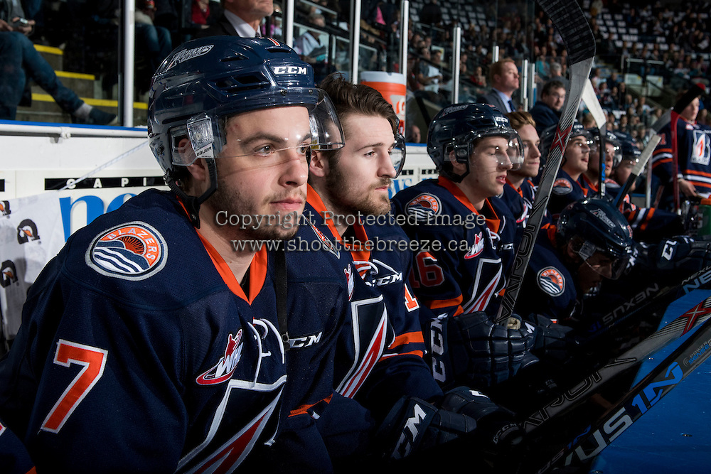 KELOWNA, CANADA - MARCH 25: Gage Quinney #7 of Kamloops Blazers sits on the bench against the Kelowna Rockets on March 25, 2016 at Prospera Place in Kelowna, British Columbia, Canada.  (Photo by Marissa Baecker/Shoot the Breeze)  *** Local Caption *** Gage Quinney;