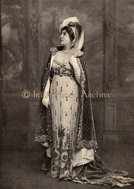 Lillie Langtry (born Emilie Charlotte le Breton - 1853-1929) only daughter of the Dean of Jersey, she was called the Jersey Lily. English society beauty and actress. Among her extra-marital lovers were Prince Louis of Battenberg and Albert Edward, Prince of Wales, the future Edward VII. In 1887 she took American citizenship.  Langtry in 1903 as the leading French actress Mademoiselle Mars (Anne Francoise Hippolyte Boutet 1779-1847) in the play 'Mademoiselle Mars'.