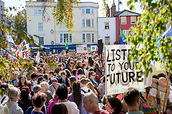 © Licensed to London News Pictures. 20/09/2019. Oxford, UK. Thousands of young people and activists take part in the Global Climate Strike demonstration in Oxford. Thousands of similar actions are taking place all over the UK and the rest of the world. Photo credit: Andre Camara/LNP