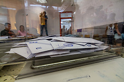 May 26, 2019 - Athens, Greece - Ballots are seen inside a ballot box during European election in Greece. (Credit Image: © Kostas Pikoulas/Pacific Press via ZUMA Wire)