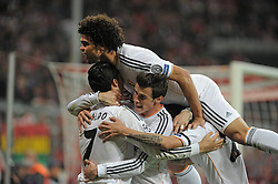 29.04.2014, Allianz Arena, Muenchen, GER, UEFA CL, FC Bayern Muenchen vs Real Madrid, Halbfinale, Ruckspiel, im Bild Jubel nach dem 0:3 durch Cristiano Ronaldo (Real Madrid), links. Daneben Gareth Bale (Real Madrid), oben Pepe (Real Madrid) // during the UEFA Champions League Round of 4, 2nd Leg Match between FC Bayern Munich vs Real Madrid at the Allianz Arena in Muenchen, Germany on 2014/04/30. EXPA Pictures &copy; 2014, PhotoCredit: EXPA/ Eibner-Pressefoto/ Stuetzle<br /> <br /> *****ATTENTION - OUT of GER*****