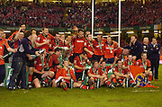 Cardiff, WALES.  Munster team line up after the presentation at  the  2006 Heineken Cup Final,  Millennium Stadium,  between Biarritz Olympique and Munster,  20.05.2006. © Peter Spurrier/Intersport-images.com,  / Mobile +44 [0] 7973 819 551 / email images@intersport-images.com.   [Mandatory Credit, Peter Spurier/ Intersport Images].14.05.2006   [Mandatory Credit, Peter Spurier/ Intersport Images].