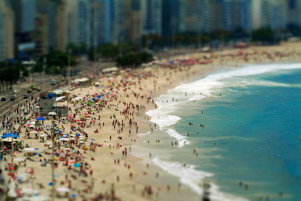 Elevated view of the beach at Copacabana, Rio De Janeiro, Brazil.