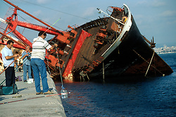 TURKEY ISTANBUL JUL02 - A wrecked freighter lies half sunk near the Ahirkapi lighthouse...jre/Photo by Jiri Rezac..© Jiri Rezac 2002..Contact: +44 (0) 7050 110 417.Mobile:   +44 (0) 7801 337 683.Office:    +44 (0) 20 8968 9635..Email:     jiri@jirirezac.com.Web:     www.jirirezac.com