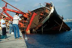 TURKEY ISTANBUL JUL02 - A wrecked freighter lies half sunk near the Ahirkapi lighthouse...jre/Photo by Jiri Rezac..© Jiri Rezac 2002..Contact: +44 (0) 7050 110 417.Mobile:   +44 (0) 7801 337 683.Office:    +44 (0) 20 8968 9635..Email:     jiri@jirirezac.com.Web:     www.jirirezac.com