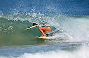 Israel, Mediterranean sea, Surfer spins on the crest of a wave