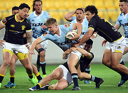 Northland's Jack Goodie splits the Wellington defence in the Mitre 10 Rugby match at Westpac Stadium, Wellington, New Zealand, Thursday, October 12 2017. Credit:SNPA / Ross Setford  **NO ARCHIVING**