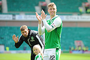 Florian Kamberi applauds fans after 5-5 draw in the Ladbrokes Scottish Premiership match between Hibernian and Rangers at Easter Road, Edinburgh, Scotland on 13 May 2018. Picture by Kevin Murray.