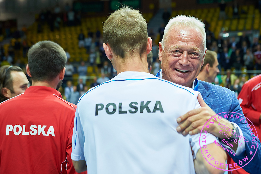 Ryszard Krauze congrats to Polish tennis players during Davis Cup Tie World Group Play-off Poland v Slovakia at Gdynia Arena Hall in Gdynia, Poland.<br /> <br /> Poland, Gdynia, September 20, 2015<br /> <br /> Picture also available in RAW (NEF) or TIFF format on special request.<br /> <br /> For editorial use only. Any commercial or promotional use requires permission.<br /> <br /> Adam Nurkiewicz declares that he has no rights to the image of people at the photographs of his authorship.<br /> <br /> Mandatory credit:<br /> Photo by &copy; Adam Nurkiewicz / Mediasport
