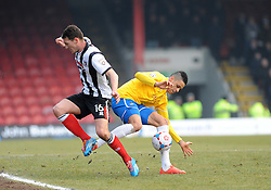 Bristol Rovers' Daniel Leadbitter challenges Grimsby's Craig Clay - Photo mandatory by-line: Neil Brookman/JMP - Mobile: 07966 386802 - 14/02/2015 - SPORT - Football - Cleethorpes - Blundell Park - Grimsby Town v Bristol Rovers - Vanarama Football Conference