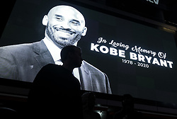January 26, 2020, Los Angeles, California, U.S: Fans gather at a memorial for former NBA player Kobe Bryant at L.A. Live, outside of the Staples Center in Los Angeles, California. (Credit Image: © Ringo Chiu/ZUMA Wire)