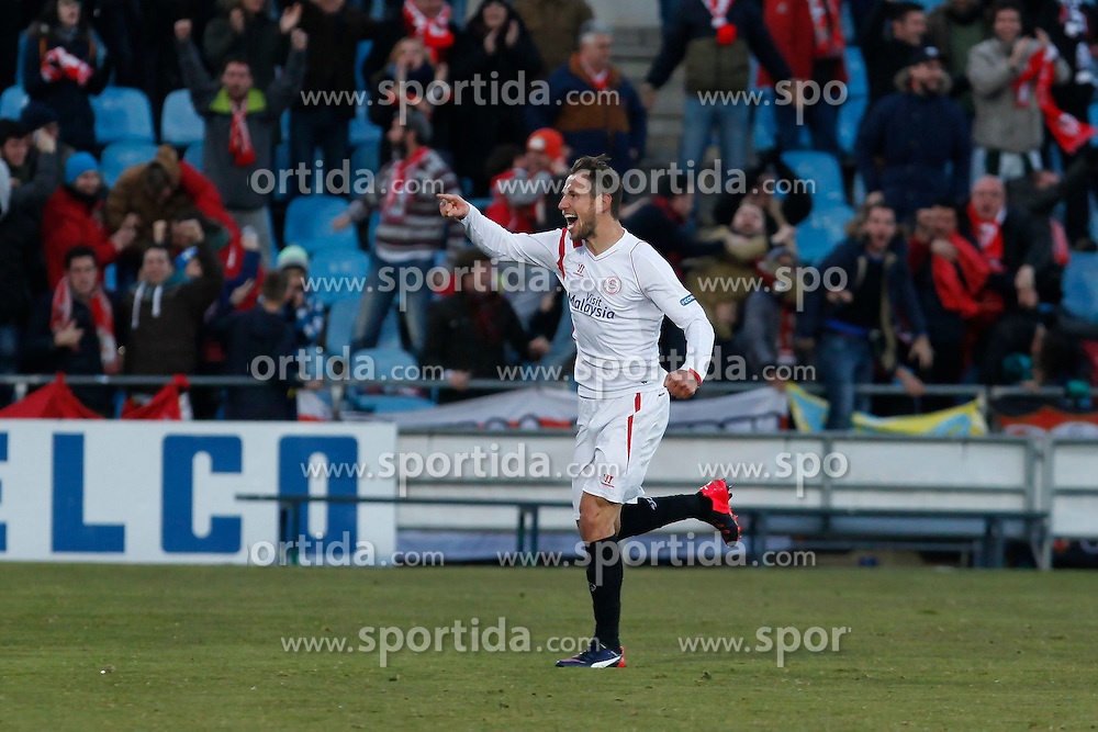 08.02.2015, Coliseum Alfonso Perez, Madrid, ESP, Primera Division, FC Getafe vs FC Sevilla, 22. Runde, im Bild Sevilla&acute;s Crychowiak celebrates a goal // uring the Spanish Primera Division 22nd round match between Getafe FC and Sevilla FC at the Coliseum Alfonso Perez in Madrid, Spain on 2015/02/08. EXPA Pictures &copy; 2015, PhotoCredit: EXPA/ Alterphotos/ Victor Blanco<br /> <br /> *****ATTENTION - OUT of ESP, SUI*****