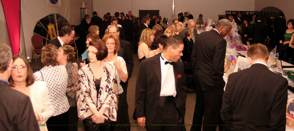 Guy Richardson (center) smiles as he looks at items in the silent auction at the 17th Artemis Center Gala, Saturday night.