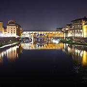 Ponte Vecchio at night and the River Arno