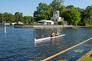 Henley on Thames, England, United Kingdom, 3rd July 2019, Henley Royal Regatta Early morning training outing by Temple Island, on Henley Reach, [© Peter SPURRIER/Intersport Image]<br /> <br /> 07:58:27 1919 - 2019, Royal Henley Peace Regatta Centenary,