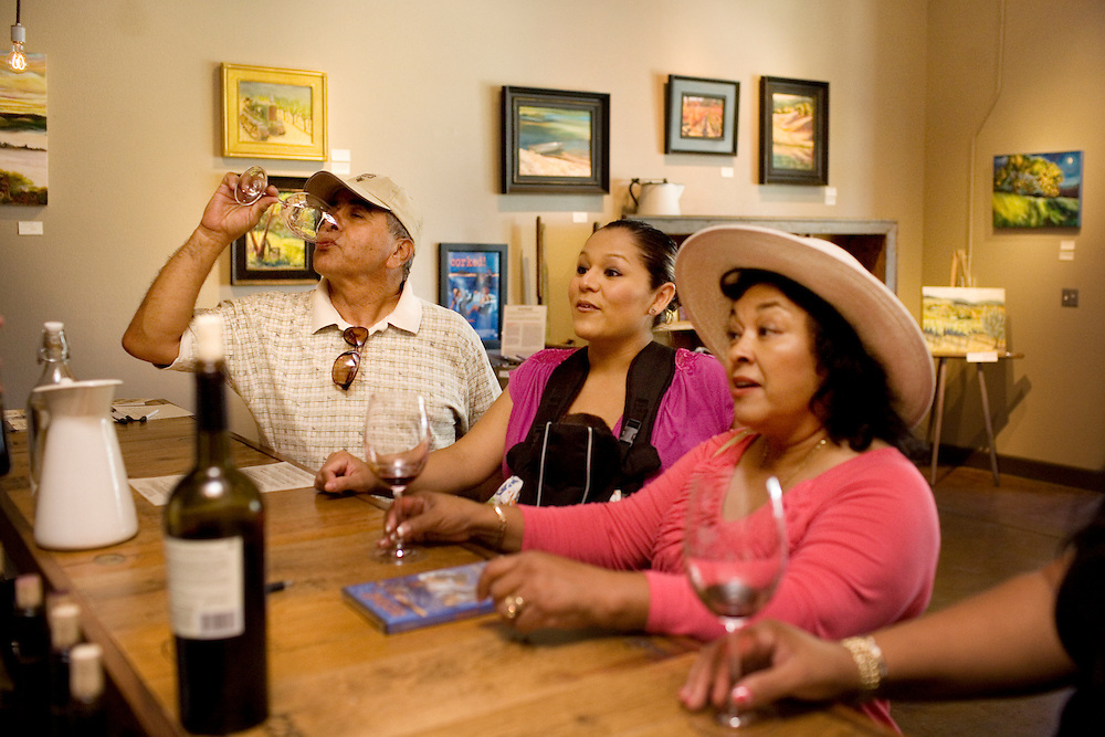 Local wine grower Chris Romo, and his cousins, Clarissa Castenada, and her mother, Cecilia, of El Centro, Ca., visit Hawley Winery, where owner and painter Dana Hawley features her vineyard paintings on the walls of the family-owned downtown tasting room, in Healdsburg, Ca., on Saturday, July 31, 2010.