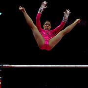 Alexandra Raisman, USA, in action on the uneven bars during the Women's Artistic Gymnastics podium training at North Greenwich Arena during the London 2012 Olympic games preparation at the London Olympics. London, UK. 26th July 2012. Photo Tim Clayton