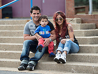"EAST HANOVER, NJ - APRIL 03:  (EXCLUSIVE COVERAGE, SPECIAL RATES APPLY) Nicole ""Snooki"" Polizzi and her fiance Jionni LaValle, pictured with their son Lorenzo LaValle on April 3, 2014 in New Jersey, are expecting their second child.  (Photo by Dave Kotinsky/NEP/Getty Images)"