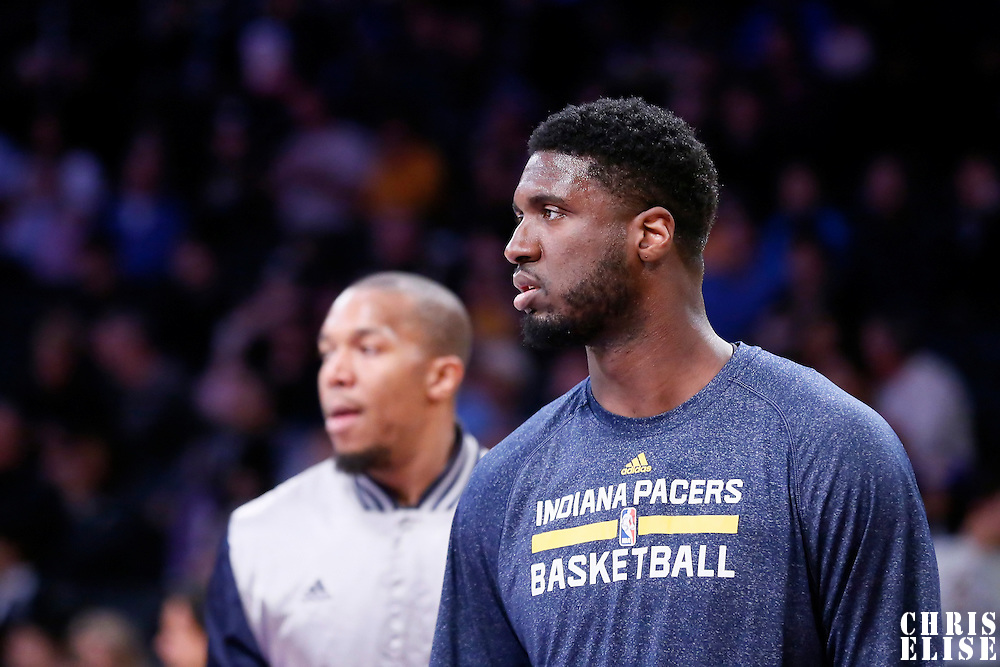 04 January 2014: Indiana Pacers center Roy Hibbert (55) warms up prior to the Los Angeles Lakers 88-87 victory over the Indiana Pacers, at the Staples Center, Los Angeles, California, USA.