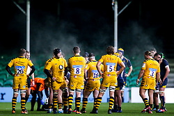 Wasps A huddle as steam rises off the players - Mandatory by-line: Robbie Stephenson/JMP - 16/12/2019 - RUGBY - Sixways Stadium - Worcester, England - Worcester Cavaliers v Wasps A - Premiership Rugby Shield