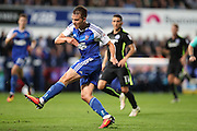 Ipswich Town defender Jonas Knudsen (3) shoots at goalduring the EFL Sky Bet Championship match between Ipswich Town and Brighton and Hove Albion at Portman Road, Ipswich, England on 27 September 2016.