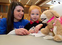 24/01/2013. Second Year NUIG Medical Student Rachel Keogh  with Kayleigh Lousie Sullivan from Scoil Sheamais Naofa, Bearna at the Teddybear Hospital a training day for students and Get to know your the hospital for Children and Teddys. PIcture:Andrew Downes.