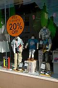 Shop window display children's clothing on sale, Mackays store, Woodbridge, Suffolk, England