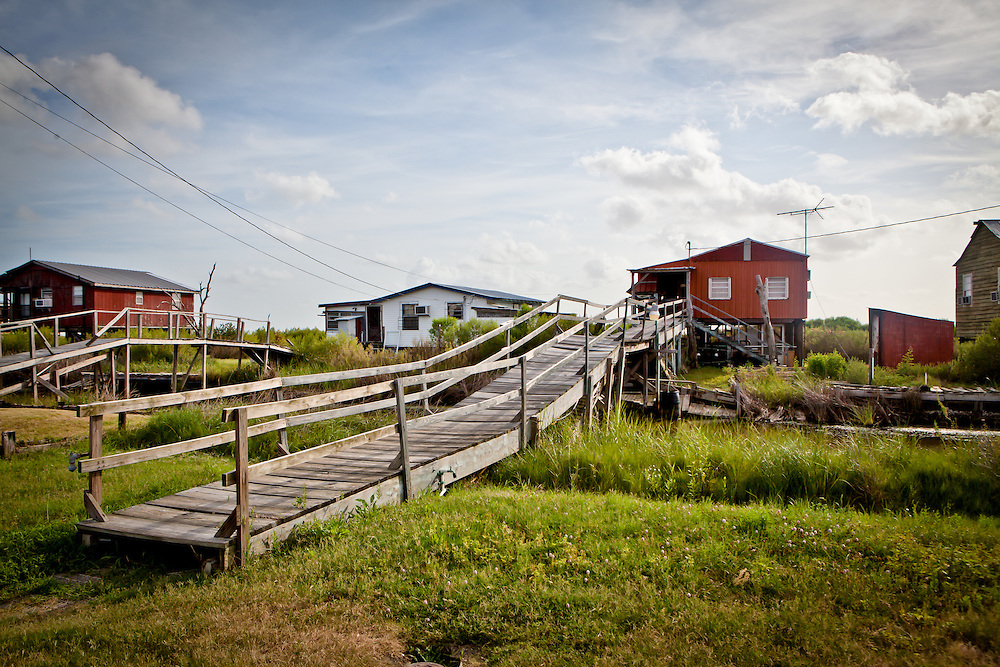 Fishing camps on Isle de Jean Charles in Terribone Parish Louisiana. The Island is under constant threat of flooding due to coastal erosion.