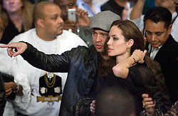 K.M. CANNON/REVIEW-JOURNALActor Brad Pitt, left, and actress Angelina Jolie look for their seats before the Floyd Mayweather Jr. versus Ricky Hatton WBC welterweight boxing title fight at the MGM Grand hotel-casino in Las Vegas, Saturday, Dec. 8, 2007...