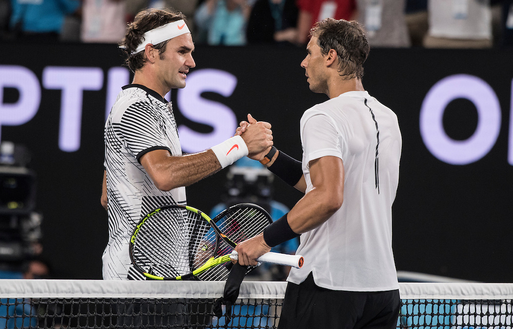 Roger Federer of Switzerland and Rafael Nadal of Spain after of the men's final on day fourteen of the 2017 Australian Open at Melbourne Park on January 29, 2017 in Melbourne, Australia.<br /> (Ben Solomon/Tennis Australia)