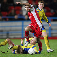 Stirling Albion v St Johnstone....26.12.07 <br /> Steven Bell pulls away from a tackle by Paul Sheerin<br /> Picture by Graeme Hart.<br /> Copyright Perthshire Picture Agency<br /> Tel: 01738 623350  Mobile: 07990 594431