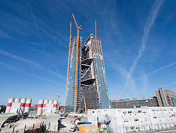 New headquarters for European Central Bank , ECB, under construction in Frankfurt Germany; Architect Coop Himmelb(l)au