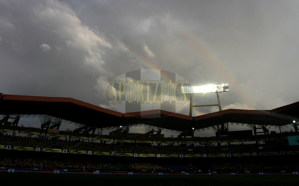 A rainbow is been seen before the start of  the match 9 of the Indian Super League (ISL) season 3 between Kerala Blasters FC and Delhi Dynamos FC held at the Jawaharlal Nehru Stadium in Kochi, India on the 9th October 2016.<br /> <br /> Photo by Vipin Pawar / ISL/ SPORTZPICS