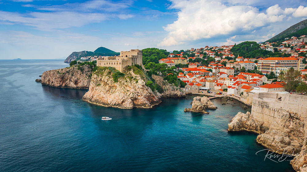 Lovrijenac Fortress above the blue Adriatic, old town Dubrovnik, Dalmatian Coast, Croatia