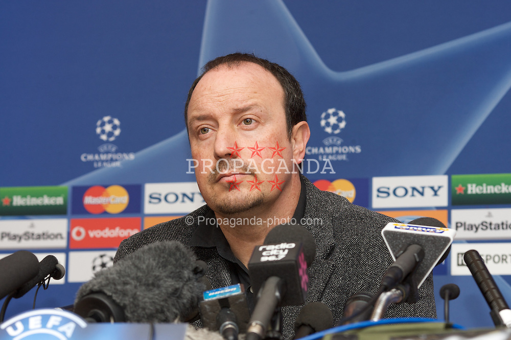 LIVERPOOL, ENGLAND - Monday, February 18, 2008: Liverpool's manager Rafael Benitez during a press conference at Anfield ahead of the UEFA Champions League First Knockout Round against Internazionale. (Photo by David Rawcliffe/Propaganda)