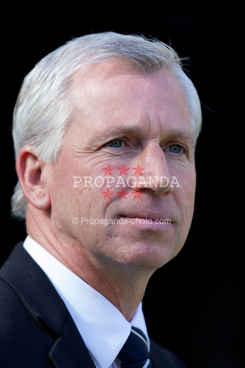 NEWCASTLE-UPON-TYNE, ENGLAND - Sunday, April 1, 2012: Newcastle United's manager Alan Pardew before the Premiership match against Liverpool at St James' Park. (Pic by Vegard Grott/Propaganda)