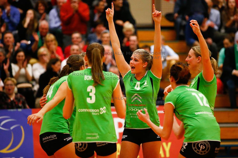 20141217 NED: Challenge Cup, Coolen Alterno - VDK Gent: Apeldoorn<br />Lisette Stindt, Anne Britt Kneijnsberg, Coolen Alterno<br />&copy;2014-FotoHoogendoorn.nl / Pim Waslander