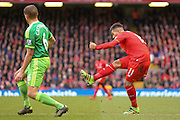 Liverpool midfielder Roberto Firmino  with a shot during the Barclays Premier League match between Liverpool and Sunderland at Anfield, Liverpool, England on 6 February 2016. Photo by Simon Davies.