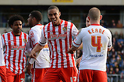 Stevenage striker Byron Harrison celebrates goal during the Sky Bet League 2 match between Oxford United and Stevenage at the Kassam Stadium, Oxford, England on 25 March 2016. Photo by Alan Franklin.
