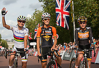 Marianne Vos (NED), Lizzie Armistead (GBR) and Laura Trott (GBR) on the start line at The Pro Women's Grand Prix race at Prudential RideLondon, the world's greatest festival of cycling, involving 70,000+ cyclists – from Olympic champions to a free family fun ride - riding in five events over closed roads in London and Surrey over the weekend of 9th and 10th August. <br />