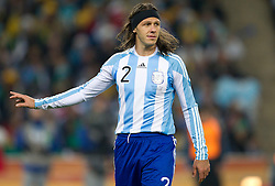 Martin Demichelis of Argentina during the 2010 FIFA World Cup South Africa Round of Sixteen match between Argentina and Mexico at Soccer City Stadium on June 27, 2010 in Johannesburg, South Africa. Argentina defeated Mexico 3-1 and qualified for quarterfinals. (Photo by Vid Ponikvar / Sportida)
