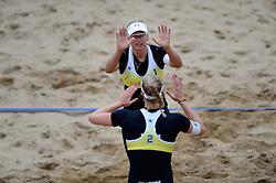 16-08-2014 NED: NK Beachvolleybal 2014, Scheveningen<br /> Marleen van Iersel, Madelein Meppelink