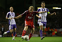 Photo: Paul Thomas.<br /> Liverpool v Toulouse. UEFA Champions League Qualifying. 28/08/2007.<br /> <br /> Dirk Kuyt of Liverpool shoots for goal.