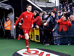 LONDON, ENGLAND - Sunday, March 17, 2019: Liverpool's Andy Robertson runs out for the the pre-match warm-up before the FA Premier League match between Fulham FC and Liverpool FC at Craven Cottage. (Pic by David Rawcliffe/Propaganda)