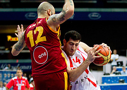 Pero Antic of Macedonia vs Tornike Shengelia of Georgia during basketball game between National basketball teams of  Georgia and Former Yugoslav Republic of Macedonia at FIBA Europe Eurobasket Lithuania 2011, on September 8, 2011, in Siemens Arena,  Vilnius, Lithuania. (Photo by Vid Ponikvar / Sportida)