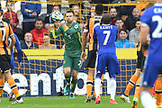 Hull City player Davis Marshall (23) makes save from shot by Chelsea midfielder Ngolo Kante (7) during the Premier League match between Hull City and Chelsea at the KCOM Stadium, Kingston upon Hull, England on 1 October 2016. Photo by Ian Lyall.