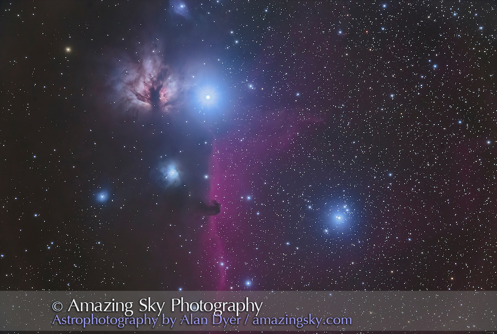 The multiple star Sigma Orionis just right of centre, near the Horsehead Nebula in Orion, and with the Flame Nebula, NGC 2024, above. <br /> <br /> This is a stack of 8 x 5 minute exposures with thr 130mm Astro-Physics refractor at f/6 with the Canon 6D (not modified) at ISO 1600, plus a single 1-minute exposure added in for the bright stars to prevent them from being blown out too much.  Even the long exposures were kept short so as not to overexpose the star too much &mdash; the focus was on the stars not on going deep to bring out the faint nebulosity. Shot Feb 17, 2017 from home. Some light cloud added glows to the stars.